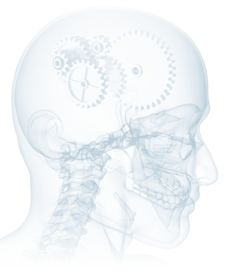 Graphic of human head with skeleton with gears in head