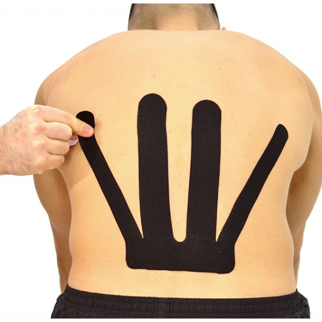 Person wearing SpiderTech tape on their back