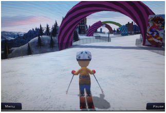 Balance game screenshot of character skiing