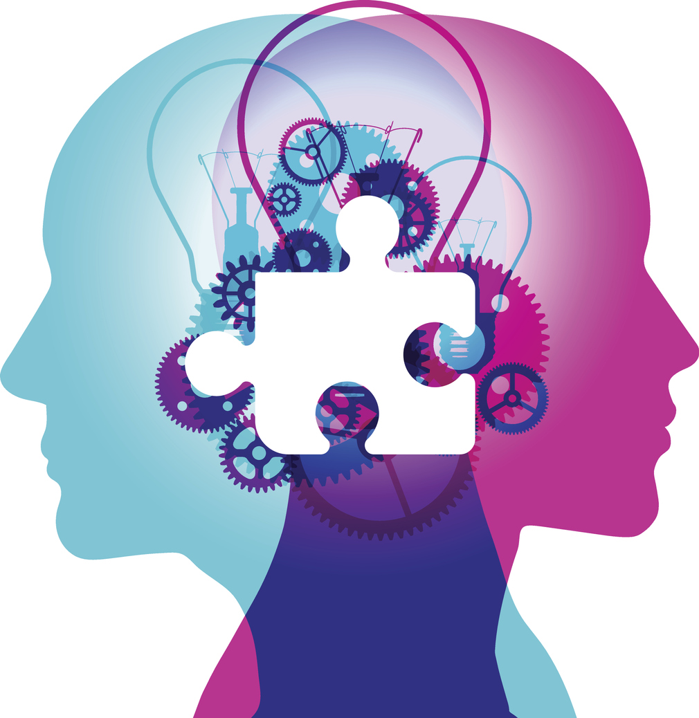 Graphic of two heads and a puzzle piece with gears in the center
