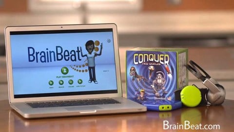 Computer on table with BrainBeat Software