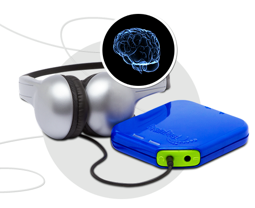 Silver headphones plugged into BrainBeat technology