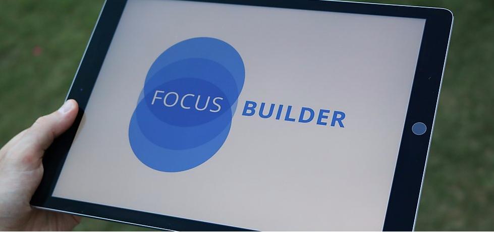 Tablet showing Focus Builder app