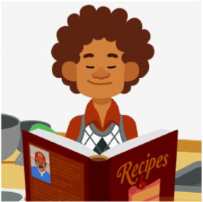 Cartoon man reading a book of recipes