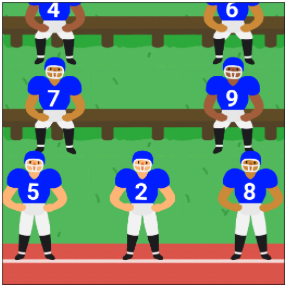 Cartoon football players on the field and sitting on benches